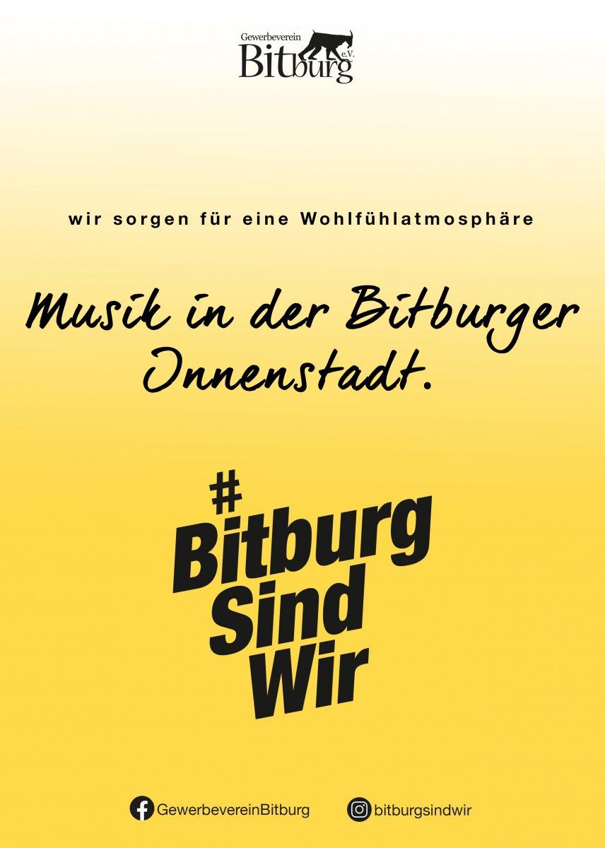 Wir unterstützen lokale Musiker und buchen diese für kleine Auftritte in der Innenstadt. (Gewerbeverein Bitburg e. V.)